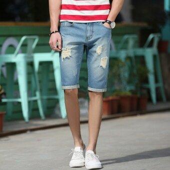 กางเกงสบายๆกางเกงขาสั้นผ้ายีนส์ชายบาง (ย้อนยุคสีฟ้า)