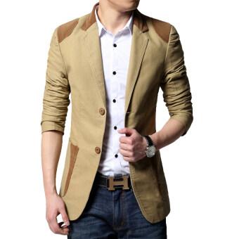 เสื้อสูทผู้ชายแบบสำสอง ขนาดใหญ่ สไตล์เกาหลี ([สีกากี]) ([สีกากี])