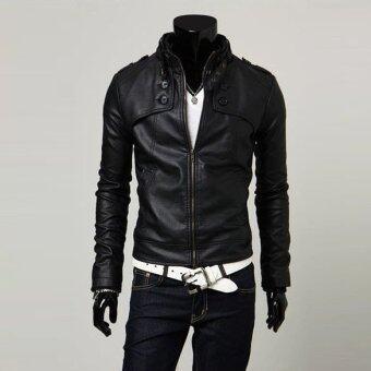 ชายเสื้อนอกหนัง Pu บูธปกเสื้อแจ็กเก็ตขี่มอเตอร์ไซค์สีดำ