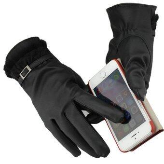 ถุงมือหนัง PU สำหรับใส่กันหนาว และ สามารถสวมถุงมือทัชสกรีนหน้าจอได้ลายตารางสีดำ / หญิง New Jacquard Unisex Touch Screen Soft GlovesMitten Warm Winter Knit Black