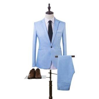 ธุรกิจพุดดิ้งชุดสูทแบบสองชิ้นสีฟ้าอ่อน