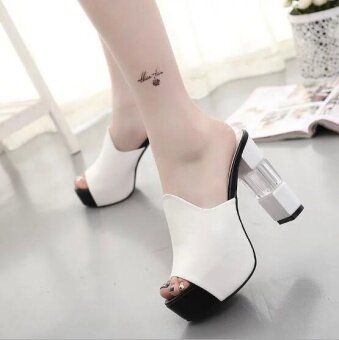 Pudding High heeled sandals with thick soles Slipper White - intl