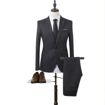 pudding Korea Korean fashion Business suit two piece suit black - intl