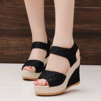 pudding Korea Korean fashion Roman princess slope with waterproof platform sandals Black - intl