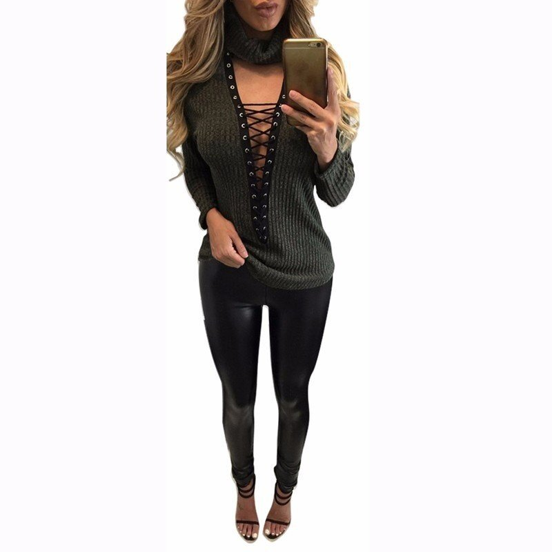 Pullover Women Sweaters Casual Bandage Knitwear Rib Jumper Pull Femme Sexy Halter V-neck Long Sleeve Tops (Green) - intl