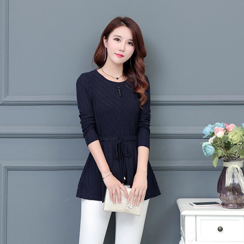 Qiudong หญิงแขนยาวใหม่ลูกไม้เสื้อ Suihua เสื้อชีฟอง ((9103) สีฟ้า)