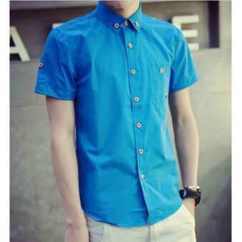 Qizhef Man han edition pure color elastic repair shirt Blue - intl