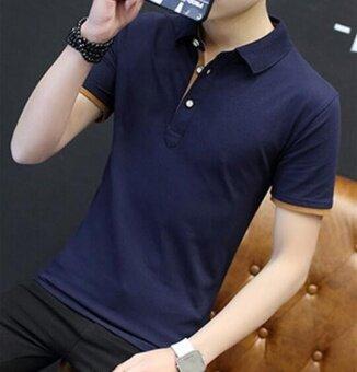 qizhef mens short sleeved t shirt slim shirt polo cotton halfsleeve blue intl 1504380702 13724204 3fd2efb58648950b93f690765033c3e5 product ซื้อราคาลด Qizhef Mens short sleeved T shirt  slim shirt  Polo cotton  halfsleeve blue