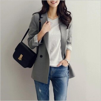 Harga QQ Korea korean fashion Long sleeve suit jacket Grey - intl