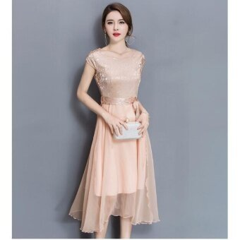 QQ Large size dress Midi evening dress Gold - intl