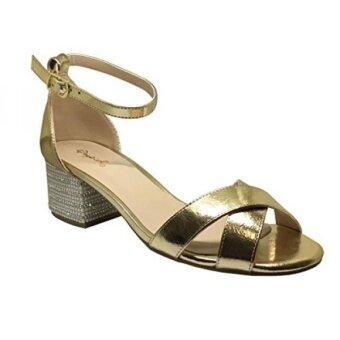 Qupid Jaden-19B Womens Criss Cross Rhinestone Embellished block heel sandas Gold Crinkle Metallic Pu Size 9 - intl