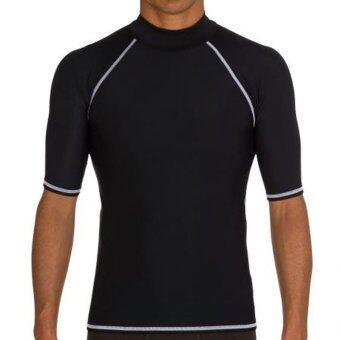 แขนสั้นชายชุดว่ายน้ำฤดูร้อนเล่นน้ำดำน้ำตื้นเสื้อ Rashguard เสื้อยืดเสื้อยืด-สีดำ