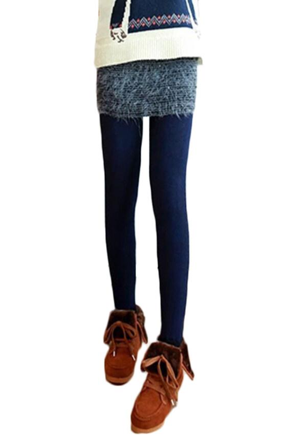 Ready4Girl กางเกงเลกกิ้งลองจอนรุ่นหนาลุยหิมะ ขายาวปิดส้นเท้า (สีน้ำเงินเข้ม)