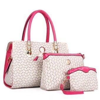 จัดโปรโมชั่น RichCoco กระเป๋าถือแฟชั่นเกาหลี + กระเป๋าเครื่องสำอาง +กระเป๋าอเนกประสงค์ขนาดเล็ก เซ็ต 3 ใบ (สีขาว)