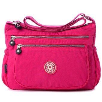 RICHCOCO กระเป๋าสะพาย เนื้อผ้าไนลอนกันน้ำ Waterproof Nylon HandbagShoulder (Hot Pink)