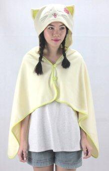 Rika ผ้าคลุมไหล่มีฮู้ดน่ารัก / RIKA / EO2801 / ลายแมว /สีเหลืองอ่อน - 2