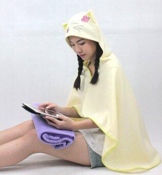 Rika ผ้าคลุมไหล่มีฮู้ดน่ารัก / RIKA / EO2801 / ลายแมว /สีเหลืองอ่อน - 3