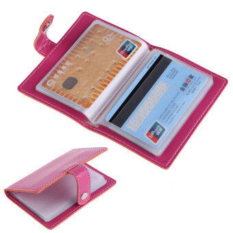 Rosy PU Leather Business Case Wallet Credit Card Holder Purse for20 Cards - intl