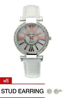 Royal Crown นาฬิกาข้อมือผู้หญิงประดับเพชร สีขาว สายหนัง รุ่น 6116 แถมฟรี ต่างหูเงินแท้ 1 คู่