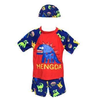 RUJI Kid Swimwear ชุดว่ายน้ำเด็ก 3 ชิ้น ชุดเด็กลายไดโนเสาร์ แขนสั้น ขาสั้น หมวก ( สีแดง )