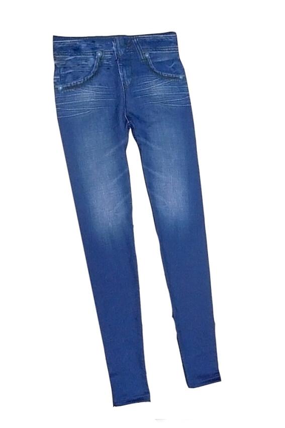กางเกงยีนส์สตรีสตรีกางเกงขายาวรัดรูปไร้คลื่นเลียนแบบกระเป๋าสีน้ำเงิน S