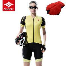Santic Women Cycling Jersey Set Yellow & Black Anti-sweat Breathable Short Sleeve Bicycle Bike Jersey Clothing + 4D Pad Shorts