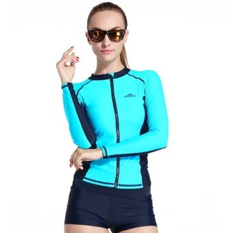 SBART Active Zipper Womens/Mens Diving Jacket Suits Wetsuits Tops Long Sleeves Surfing Rash Guards Swimwears - intl