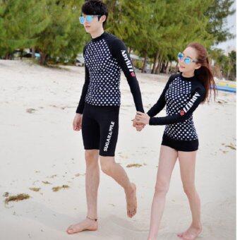 SCS ชุดว่ายน้ำชาย ชุดดำน้ำ เสื้อแขนยาวกางเกง3ส่วน (สีดำ) รุ่น 16008