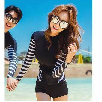 ชุดว่ายน้ำ SeaBeach Black white แฟชั่นเกาหลี แขนยาว # 8024