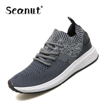 Harga Seanut Men's Flying woven shoes breathable mesh shoes casual shoes(Blue) - intl