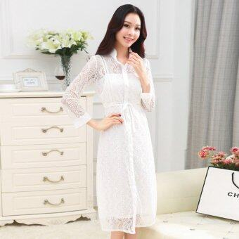 Harga see-through lace dress + camisole dress female suntan-proof wear -intl