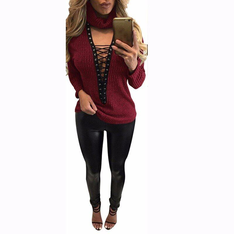 Sexy Pullover Women Sweaters Casual Bandage Knitwear Rib Jumper Pull Femme Sexy Halter V-neck Long Sleeve Tops (Wine Red) - intl