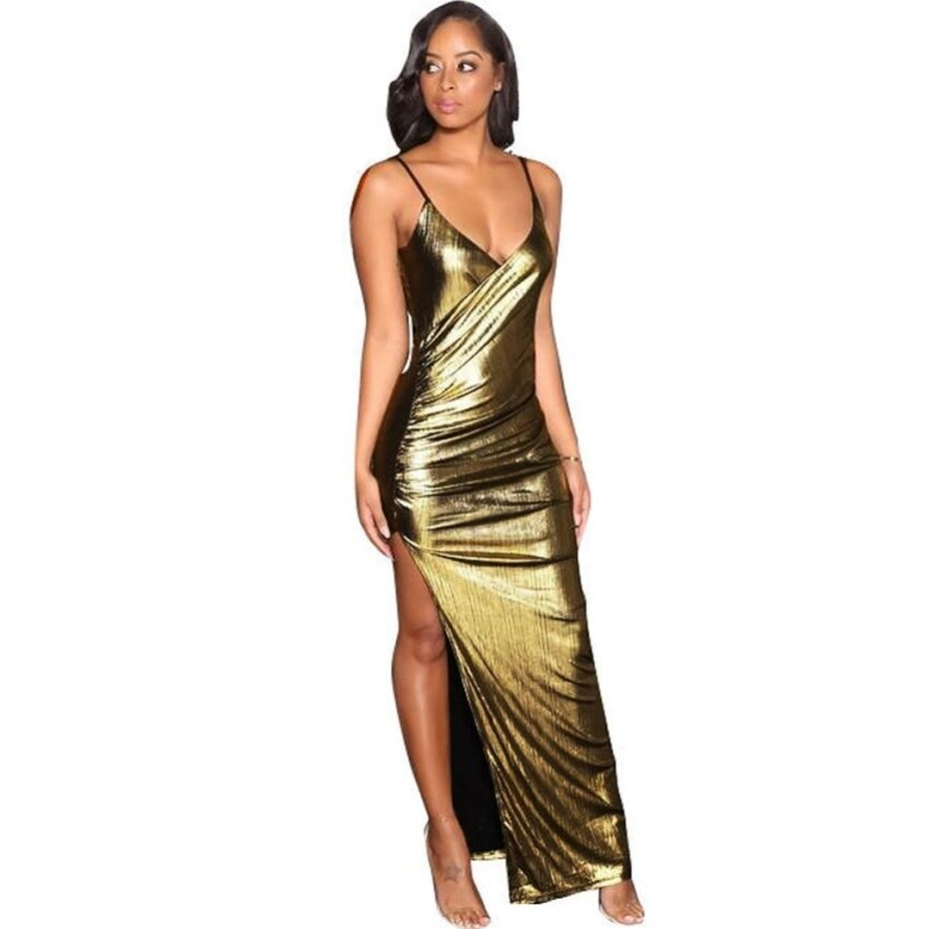 Sexy Women Bandage Maxi Dress V Neck Adjustable Strap Thigh High Split Clubwear Party Dress Gold - intl