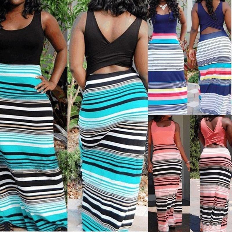 Sexy Women Summer Long Maxi BOHO Evening Party Dress Beach Dresses Sundress(Coffee) - intl