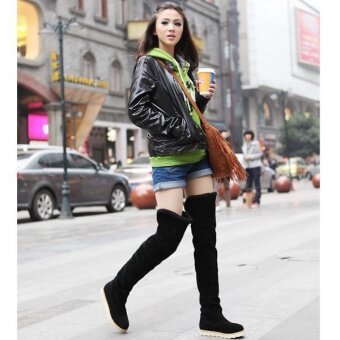 Sexy Women's Over Knee Thigh High Snow Boots Girl's Winter Booties Flat Shoes - intl