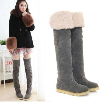 เซ็กซี่ของผู้หญิงกว่าเข่าต้นขาสูงรองเท้าหิมะฤดูหนาวของเด็กผู้หญิงรองเท้าแบนรองเท้า