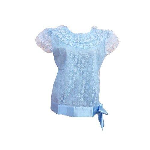 SIRIRAT เสื้อลูกไม้ แขนสั้น แบบสมัย ร.7 (สีฟ้า)