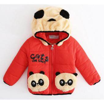 เสื้อแจคเก็ตบุผ้าขนหนานุ่มมีฮู๊ดลายแพนด้าสีแดง Size XL