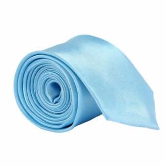 เนคไท Slim Necktie Tie Wedding Classic Jacquard Woven Solid Color Plain Skinny Silk - Sky Blue