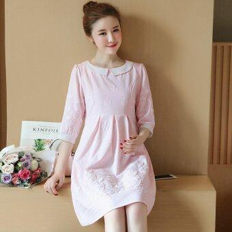 Harga Small Wow Maternity Elegant Doll Collar Print chiffon Loose AboveKnee Dress Pink - intl