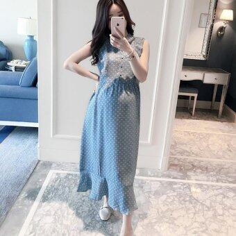 Harga Small Wow Maternity Fashion Round Print Cotton Loose Long DressBlue - intl