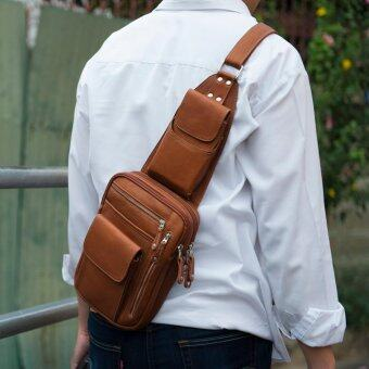 กระเป๋าสะพายเฉียง กระเป๋าคาดอก หนังแท้ สามารถใส่I-Pad อาวุธปืน อุปกรณ์เดินป่า มีดพกได้ รุ่น MC04A02