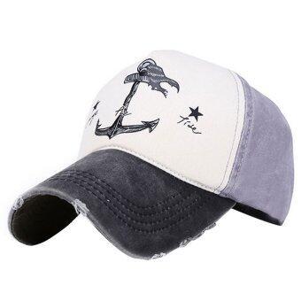 โจรสลัดยึดเรือผ้าพิมพ์ลายวินเทจเพศชายหมวกหมวกเบสบอลนิยมปรับได้ทั้งหมวกฮิปฮอปSnapback แบนสีดำ+สีเทา
