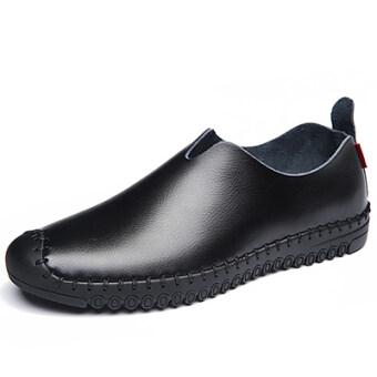 เกาหลีนุ่ม soled ระบายอากาศรอบรองเท้าหนังรองเท้าแตะ (ชายรุ่น + สีดำชุดเท้ารองเท้าเดียว)