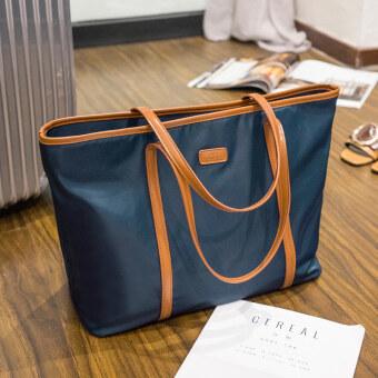 Sony Ericsson ผ้า Oxford นักเรียนขนาดใหญ่ถุงหญิงกระเป๋าสะพายไหล่ (สีฟ้า-ขนาดใหญ่)