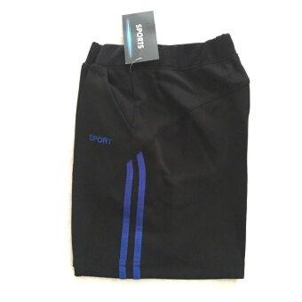 Sports, กางเกงกีฬาขาสั้นผ้าวอร์ม ผู้หญิง สีดำ แต่งน้ำเงิน_Model01
