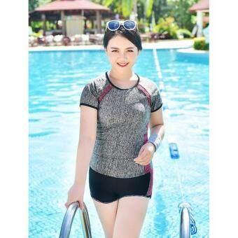 ชุดว่ายน้ำไซต์ใหญ่ Sports Girl เซ็ต 2 ชิ้น ไซส์ XXL-6XL แถบแดง # 80034
