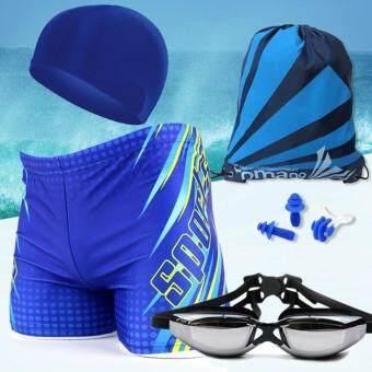 Sports กางเกงว่ายน้ำชาย พร้อมหมวกว่ายน้ำ แว่นตาว่ายน้ำ และกระเป๋าพกพา รุ่น Complete Set(สีฟ้าเหลืองเล่นลาย) ขนาด XXL