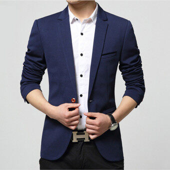Spring and Autumn Men 's Small Suit Korean Youth Jacket LeisureSuits (Dark blue) - intl