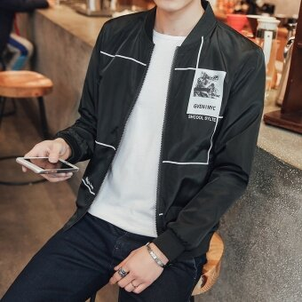 Spring and Autumn New Men 's Casual Sports Jackets Baseball Men' S Casual Jackets Black - intl